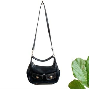 Hush Puppies Black Leather Suede Crossbody Bag
